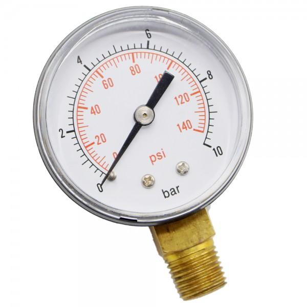"Manometer Vakuumeter Druckluftmanometer - Anschluss 1/4"" - 0 - 10 bar"
