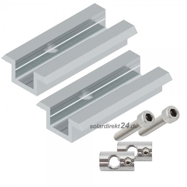 2er-Set Mittelklemme für 30-50 mm Module silber inkl. 40mm Schrauben Photovoltaik PV Solar