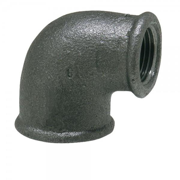 Reduzierter Temperguss Winkel 90° IG - verschiedene Größen Fitting reduziert schwarz