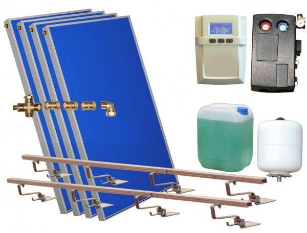 Solarthermie Basic Paket - Eurotherm-Solar Flachkollektoren – 7,53m² – Aufdachmontage