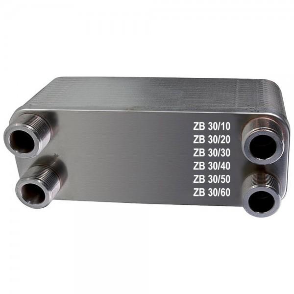 Plattenwärmetauscher ZB30 Edelstahl 4 x 3/4 Zoll 10 bis 60 Platten