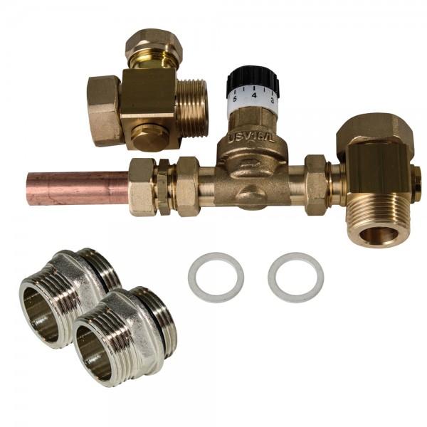 """Überstromventil 1"""" AG incl Verteilerrohr 2x Doppelnippel 0,03 bis 0,5 bar Überdruck"""