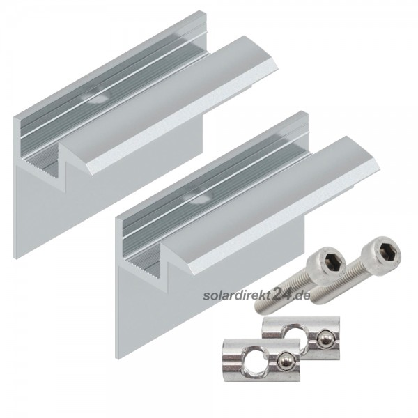 2er-Set Endklemme für 35 mm Module silber inkl. Schrauben Solar Photovoltaik PV