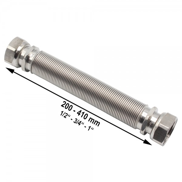 "Wellrohr ausziehbar IG/IG 200-410 mm 1/2"" 3/4"" 1"" Edelstahl Solarrohr"