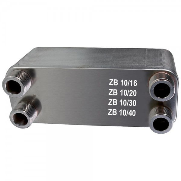 """Plattenwärmetauscher ZB10 Edelstahl 4 x 3/4"""" AG 16 bis 40 Platten"""