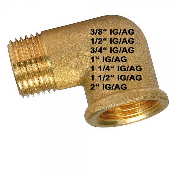 90° Messing Winkel IG/AG DN10 bis DN40 Messingfitting Winkelfitting