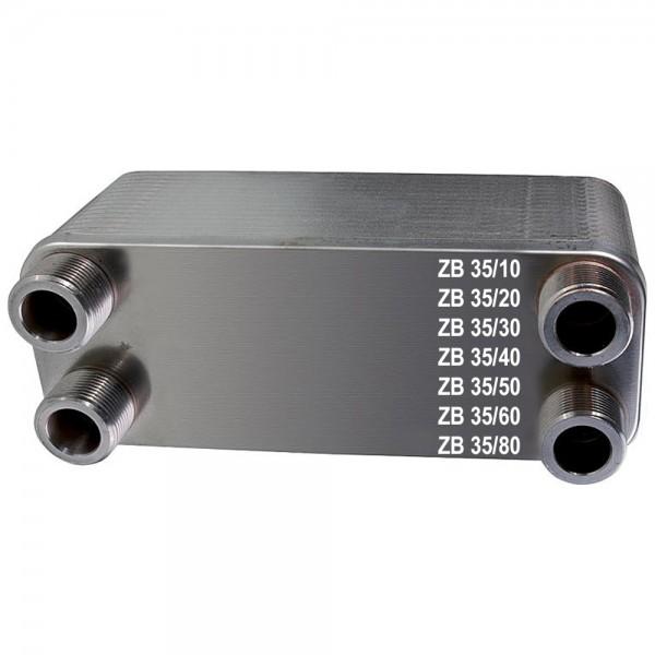Plattenwärmetauscher ZB35 Edelstahl 4 x 1 Zoll 10 bis 80 Platten