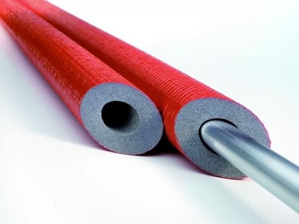 PE-Rohrisolierung Isolierschlauch mit Schutzhaut in rot - 18x13mm - 2 Meter