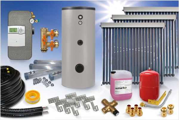 Vakuumröhrenkollektor - Brauchwasser & Heizung Paket 22,90m² - 1500 Liter Speicher (BWH-23.1500)
