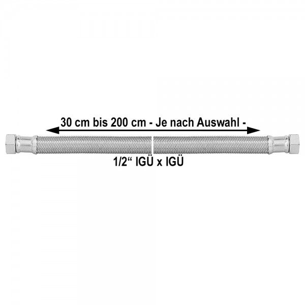 1/2 Zoll Panzerschlauch IGxIG Flexschlauch Druckschlauch 300 bis 2000mm