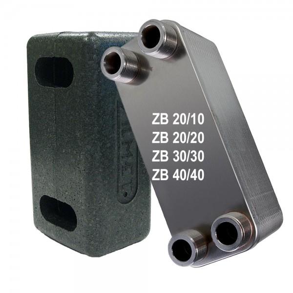 """Plattenwärmetauscher inkl. Isolierung ZB20 3/4"""" 10 bis 40 Platten"""