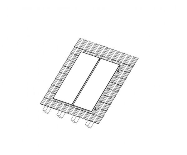 Aufdach Montageset für 2 x Sunex 2.85 Flachkollektoren