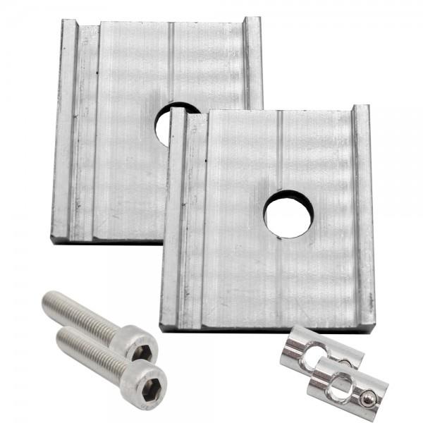 2er-Set Alu Montageplättchen für M8 inkl. Zylinderschrauben + Nutensteine