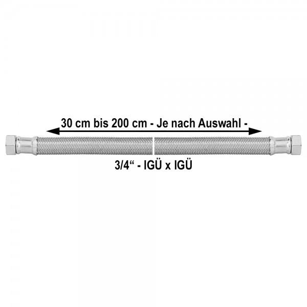 3/4 Zoll Panzerschlauch IGxIG Flexschlauch Druckschlauch 300 bis 2000mm